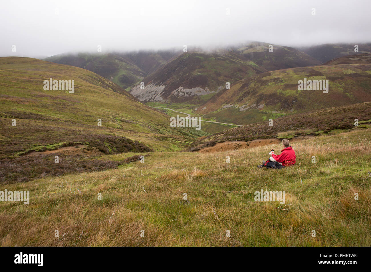 Looking across Mennock Pass to Wether Hill and White Dod from near the Dempster Road - Stock Image