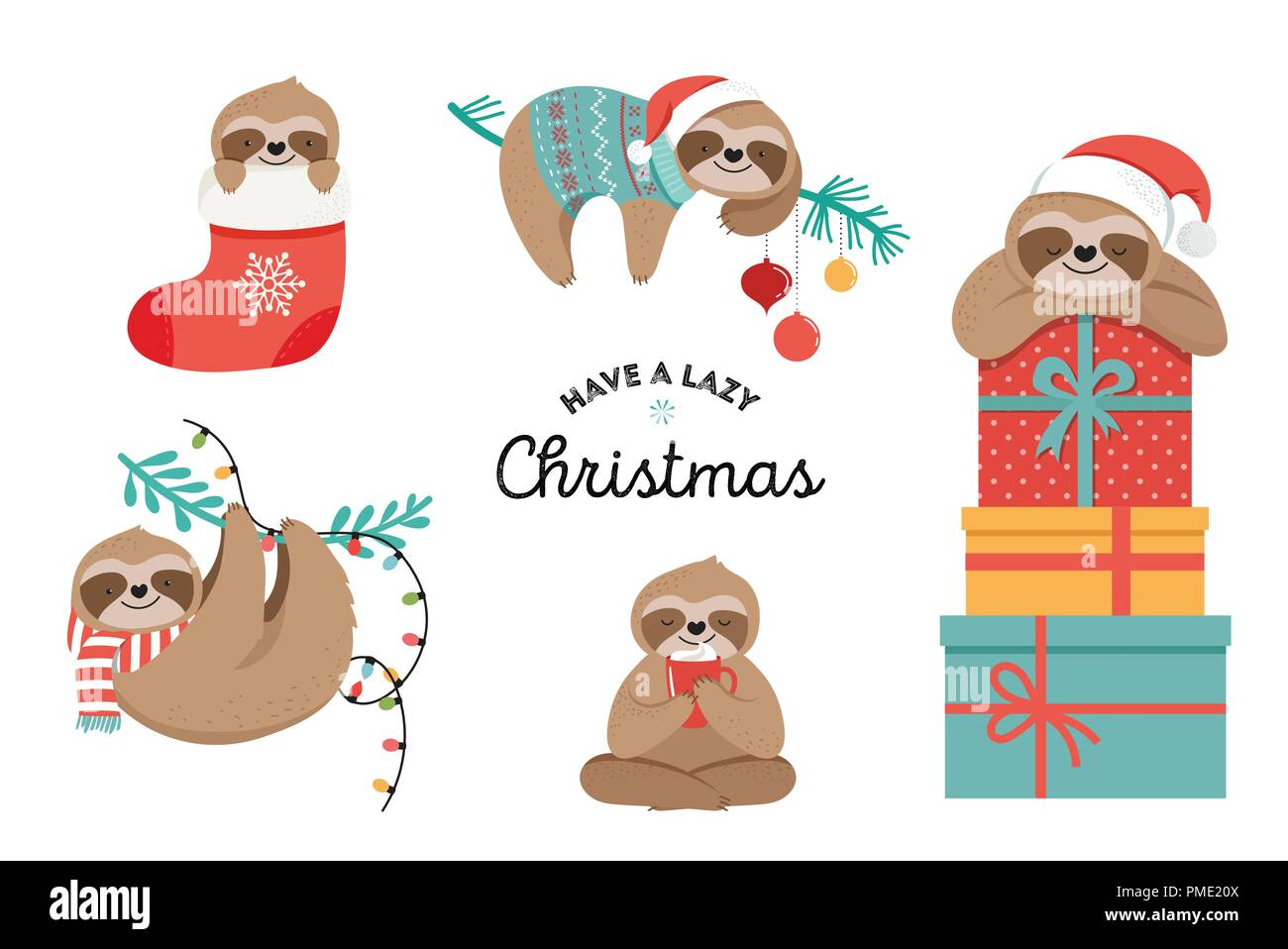 Cute sloths, funny Christmas illustrations with Santa Claus costumes ...