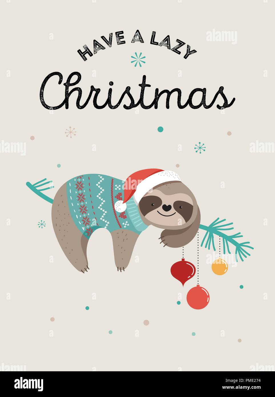 Christmas Illustrations.Cute Sloths Funny Christmas Illustrations With Santa Claus