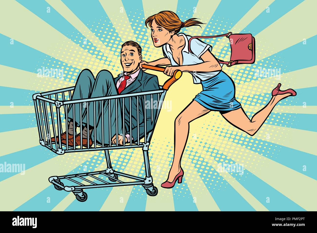 woman bought a groom, shopping cart trolley sale - Stock Vector