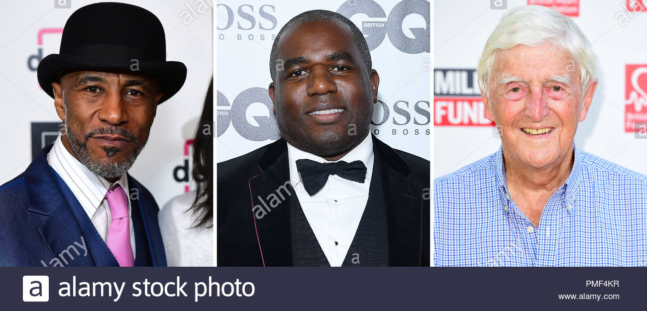 File photos of (from the left) Danny John-Jules, David Lammy and Sir Michael Parkinson. - Stock Image