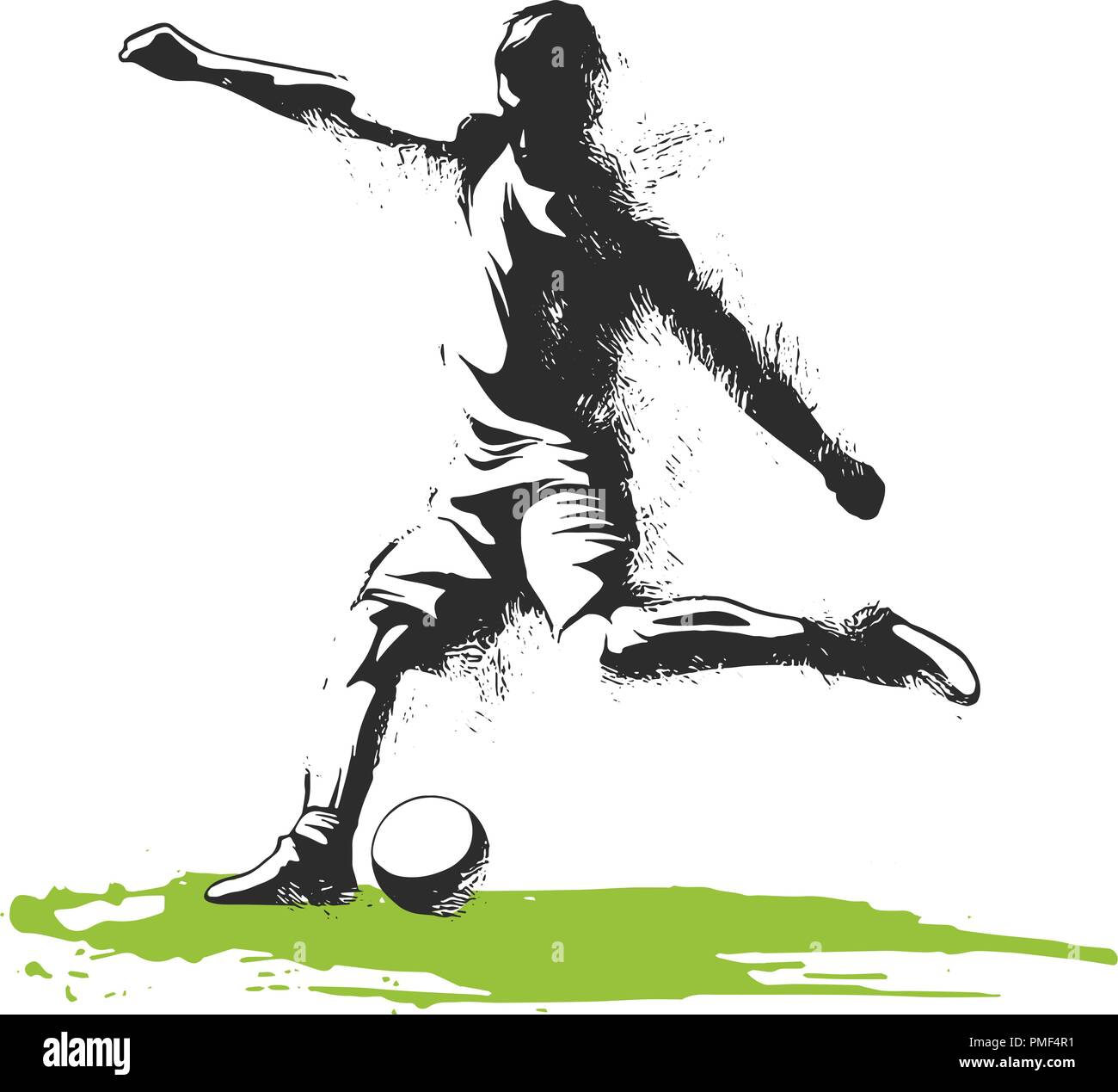 one caucasian soccer player man playing kicking in silhouette isolated on white background - Stock Vector