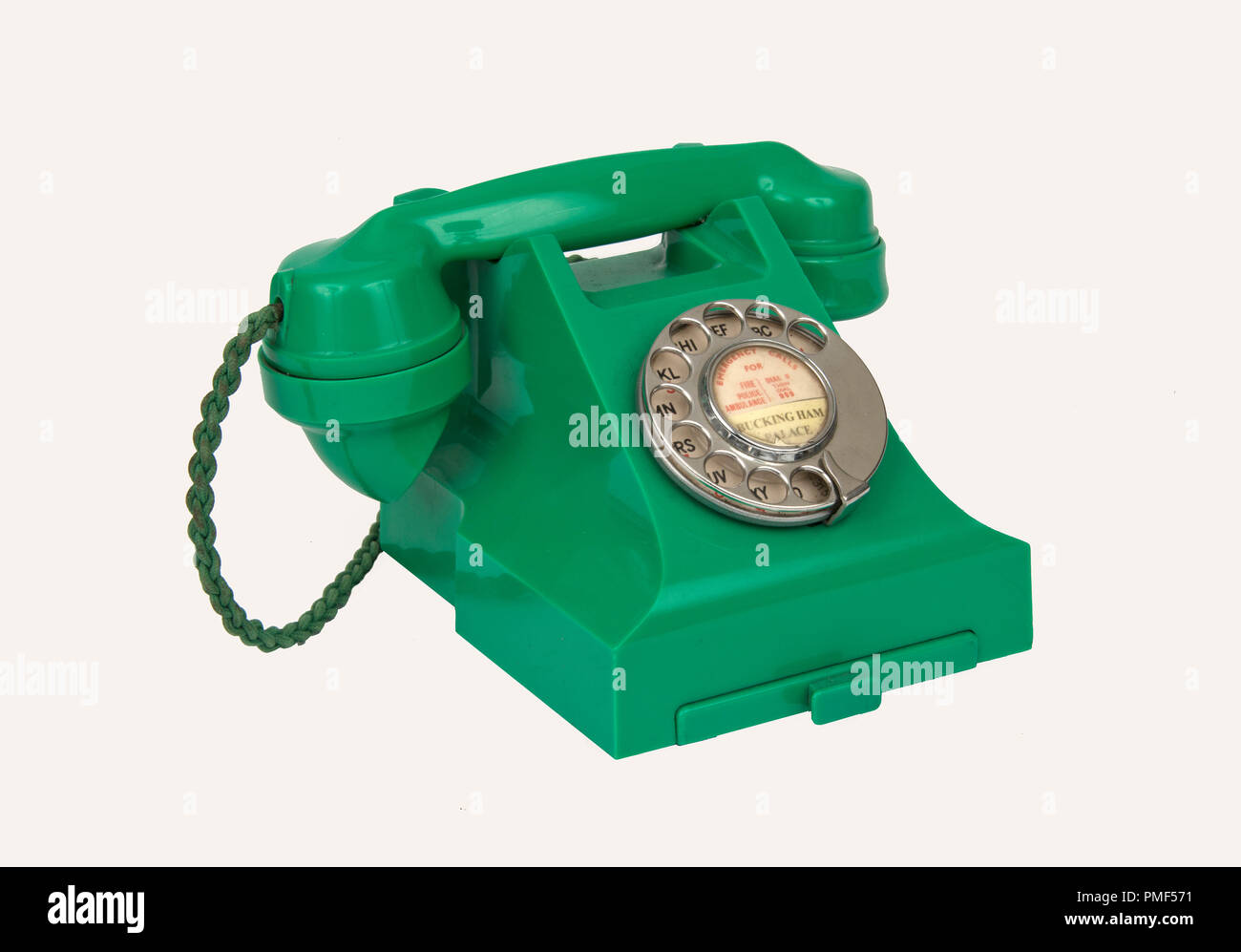 A green bakelite telephone of the 1950's - Stock Image