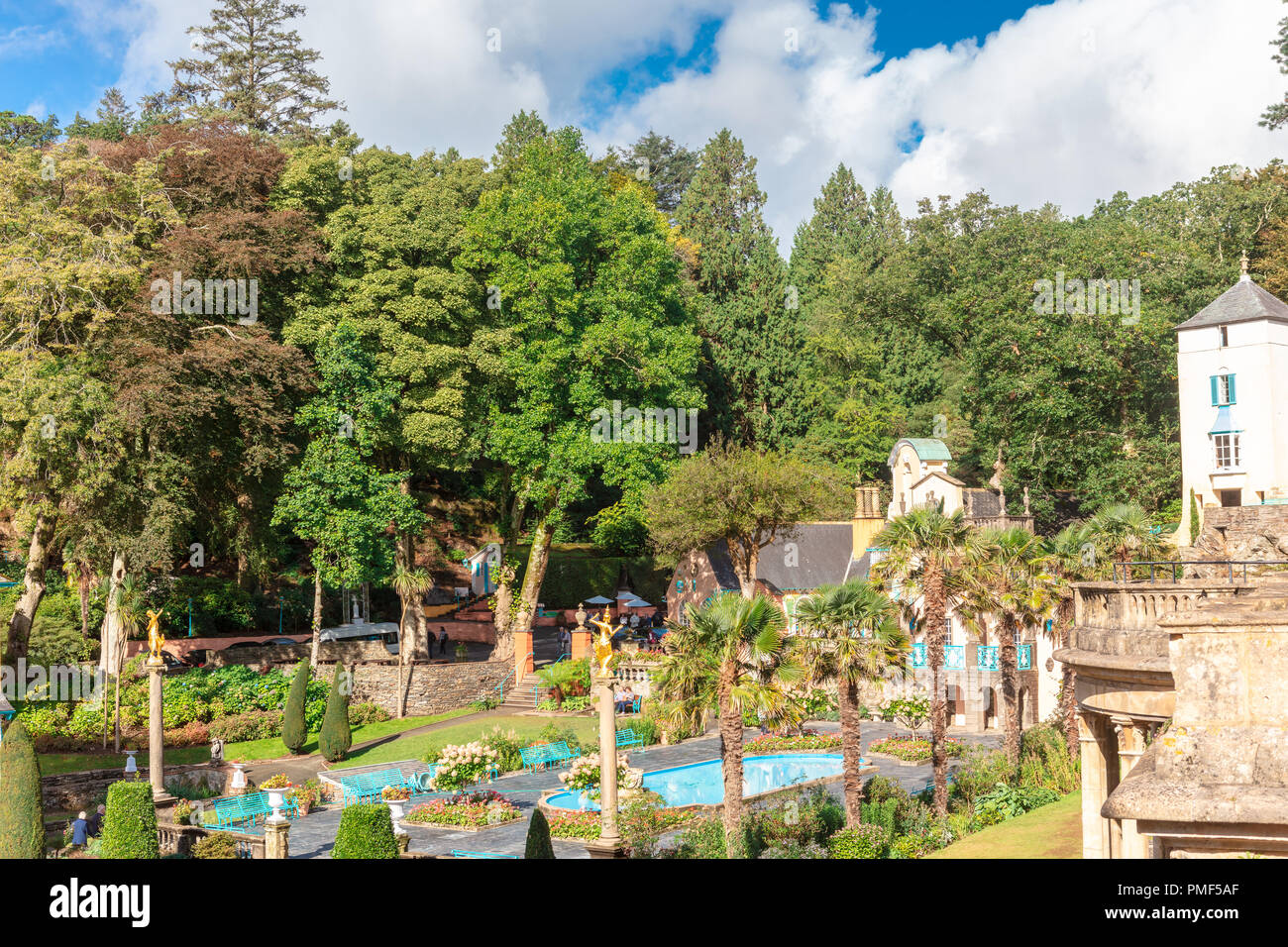 Popular tourist resort of Portmeirion, North Wales, UK, the Italianate village built by Clough Williams-Ellis. Stock Photo