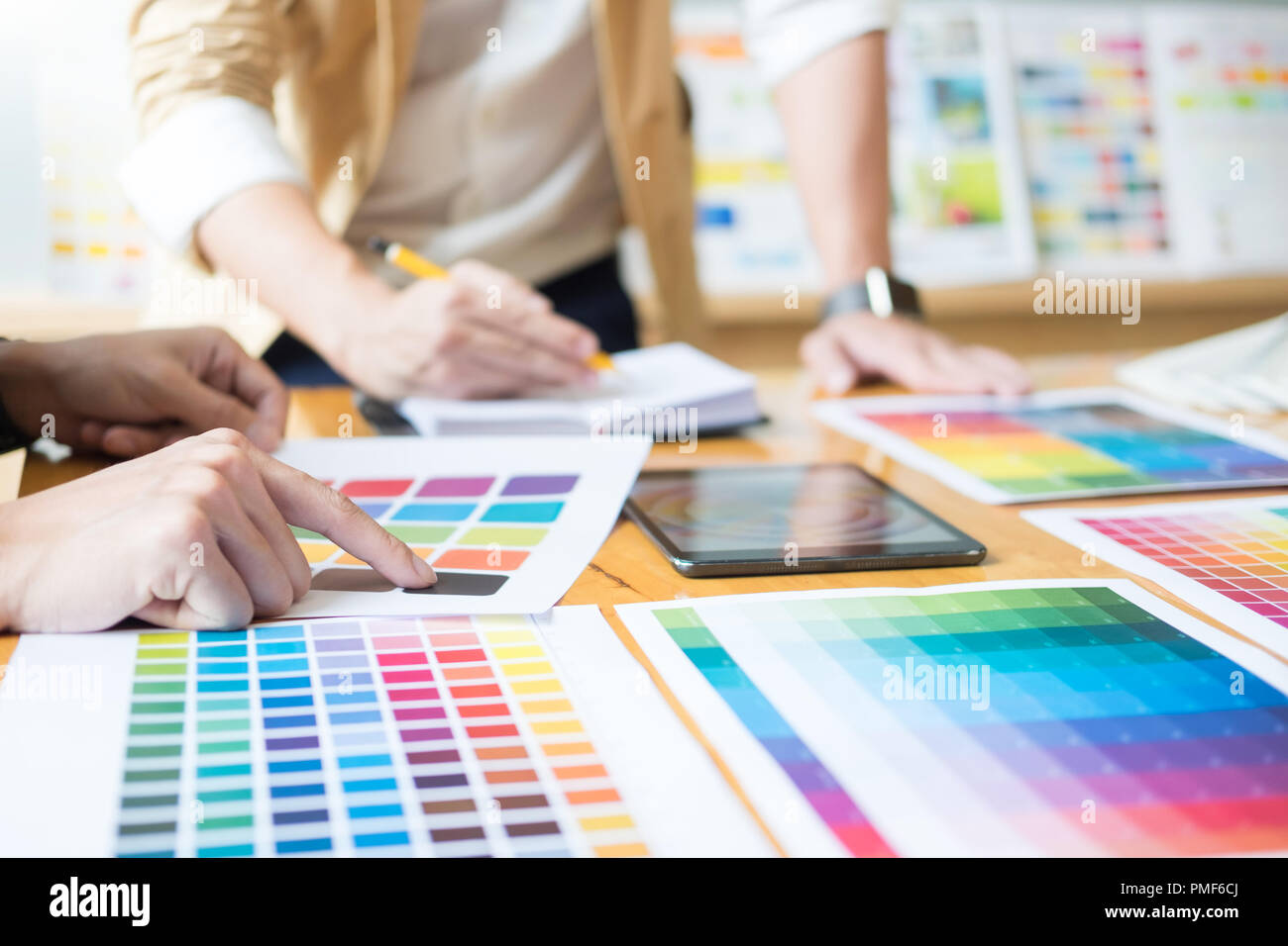 Creative Graphic Designer At Work. Color Swatch Samples ...