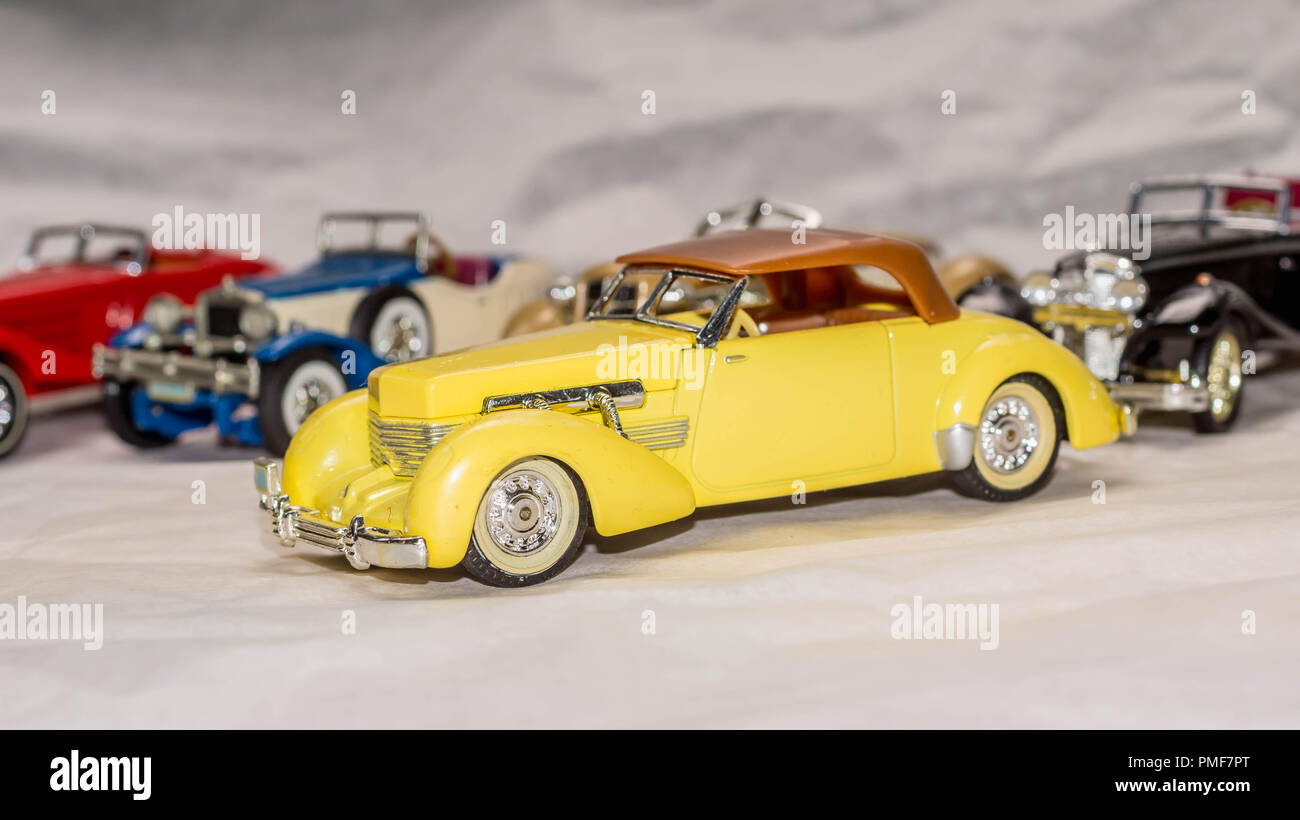 collection of old car model. replica of vintage car. collectible toys Stock Photo