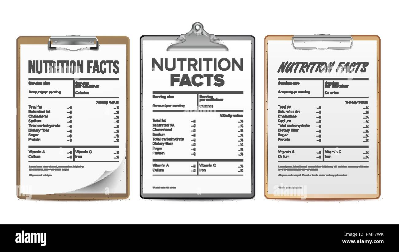 nutrition facts vector blank template diet calories list for box