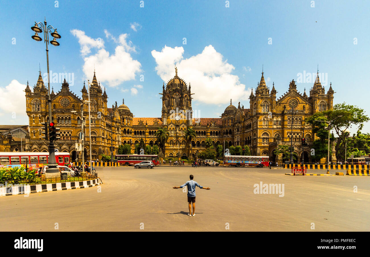 Chhatrapati Shivaji Maharaj Terminus, formerly known as Victoria Terminus is a historic railway station and a UNESCO World Heritage Site. - Stock Image