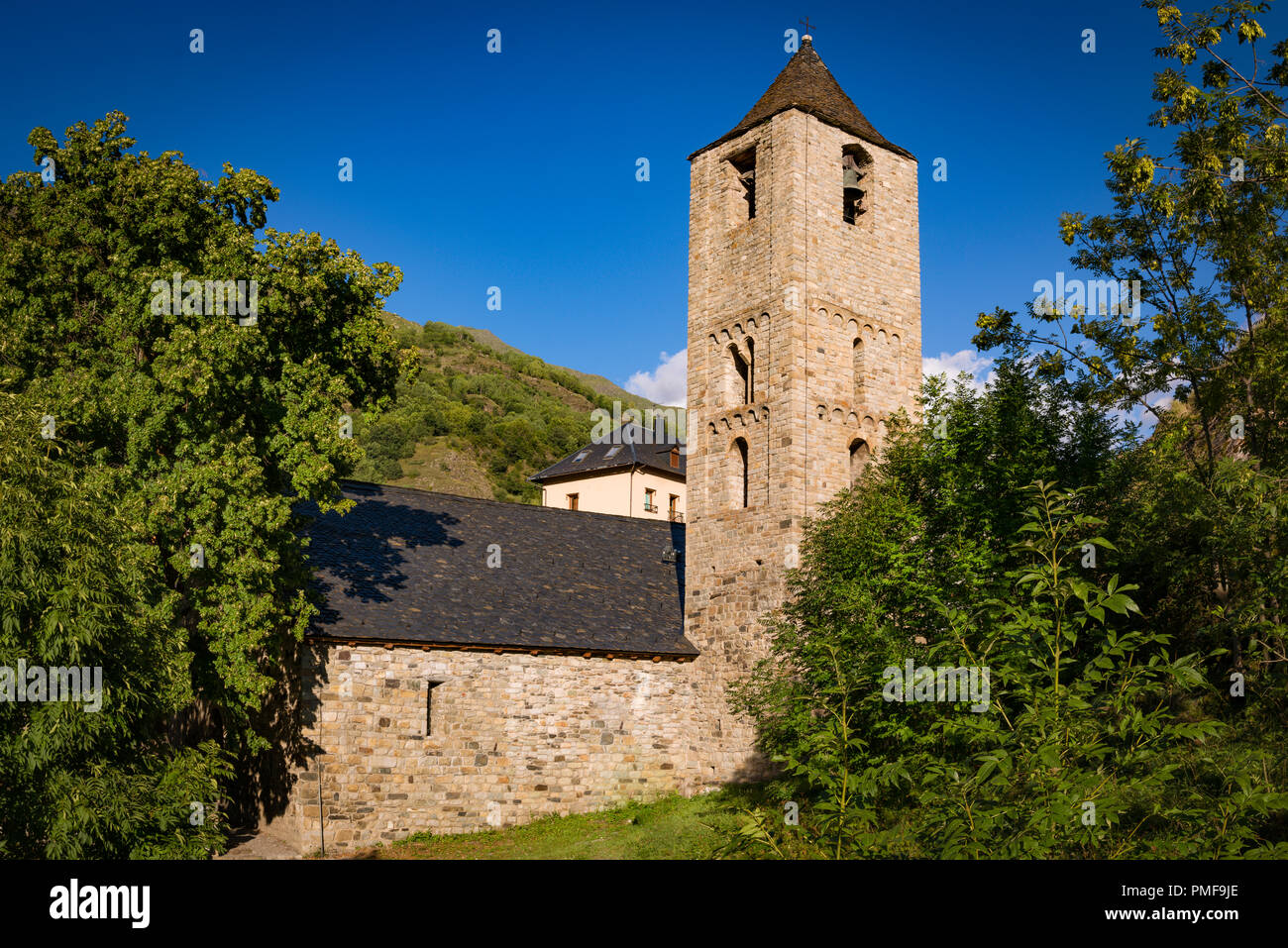 Belfry and church of Sant Joan de Boi, Catalonia, Spain. Romanesque style - Stock Image
