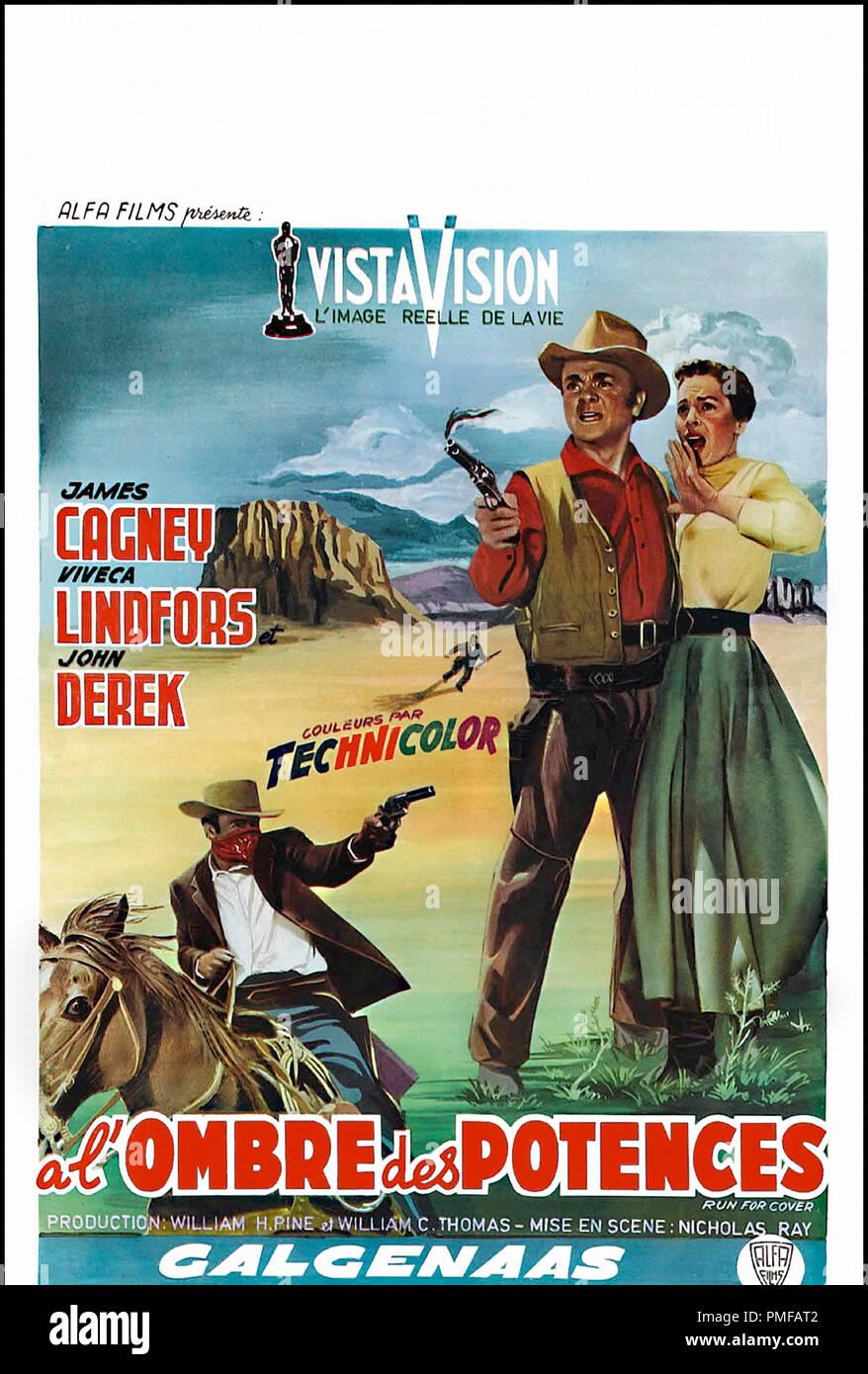 Prod DB © Pine-Thomas Productions / DR A L'OMBRE DES POTENCES (RUN FOR COVER) de Nicholas Ray 1955 USA affichette belge avec James Cagney technicolor, vistavision, western, cheval, revolver, bandit autre titre: Colorado (USA) (reissue title) - Stock Image