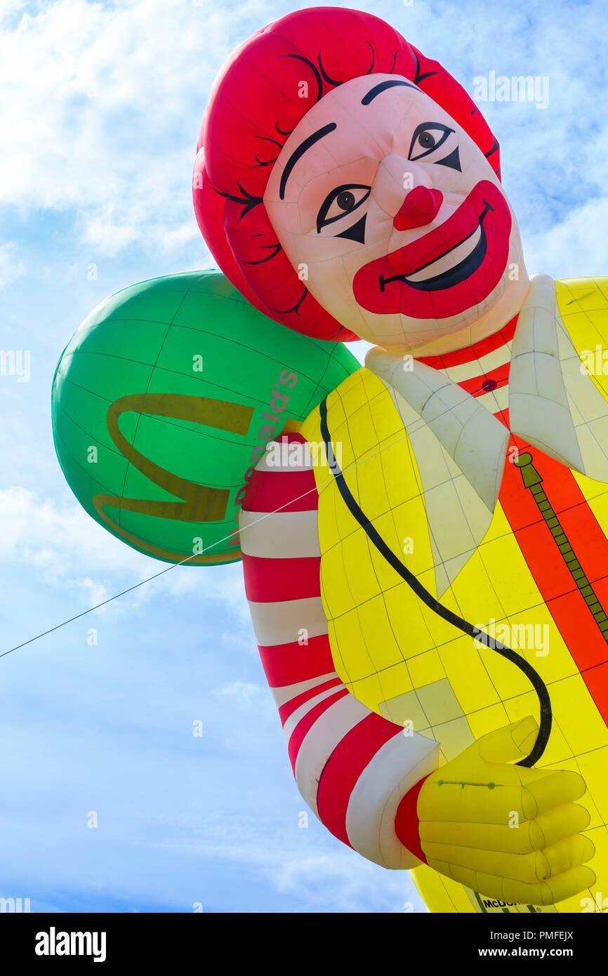 Ronald McDonald hot air balloon at Longleat Sky Safari, Wiltshire, UK in September Stock Photo