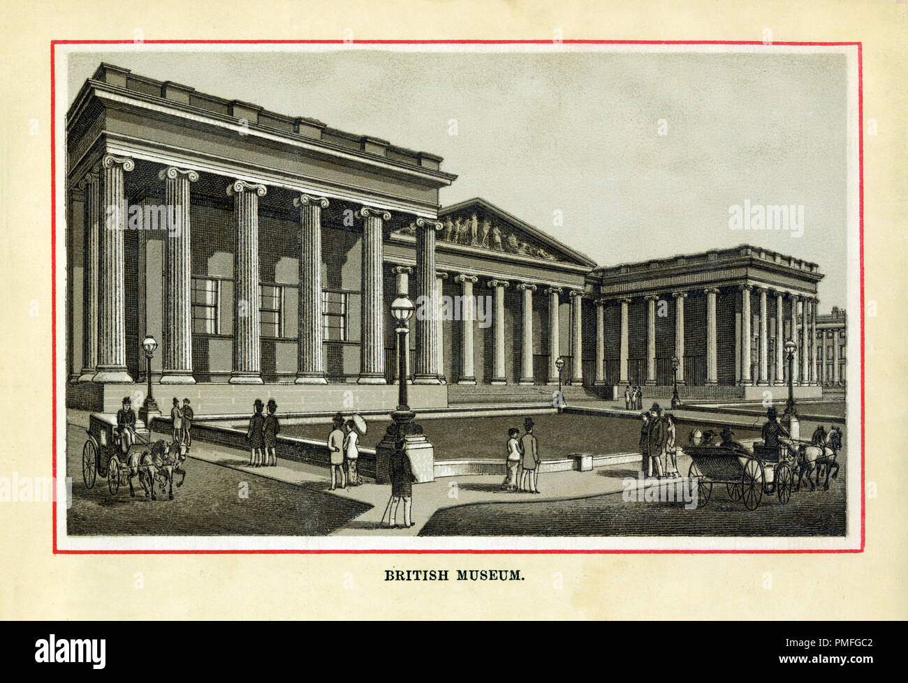 The British Museum, 1880 high quality steel engraving of the first national public museum in the world, established in 1753 on the collections of Hans Sloane, the neo-classical front built to the designs of Robert Smirke opened between 1827 and 1857 - Stock Image