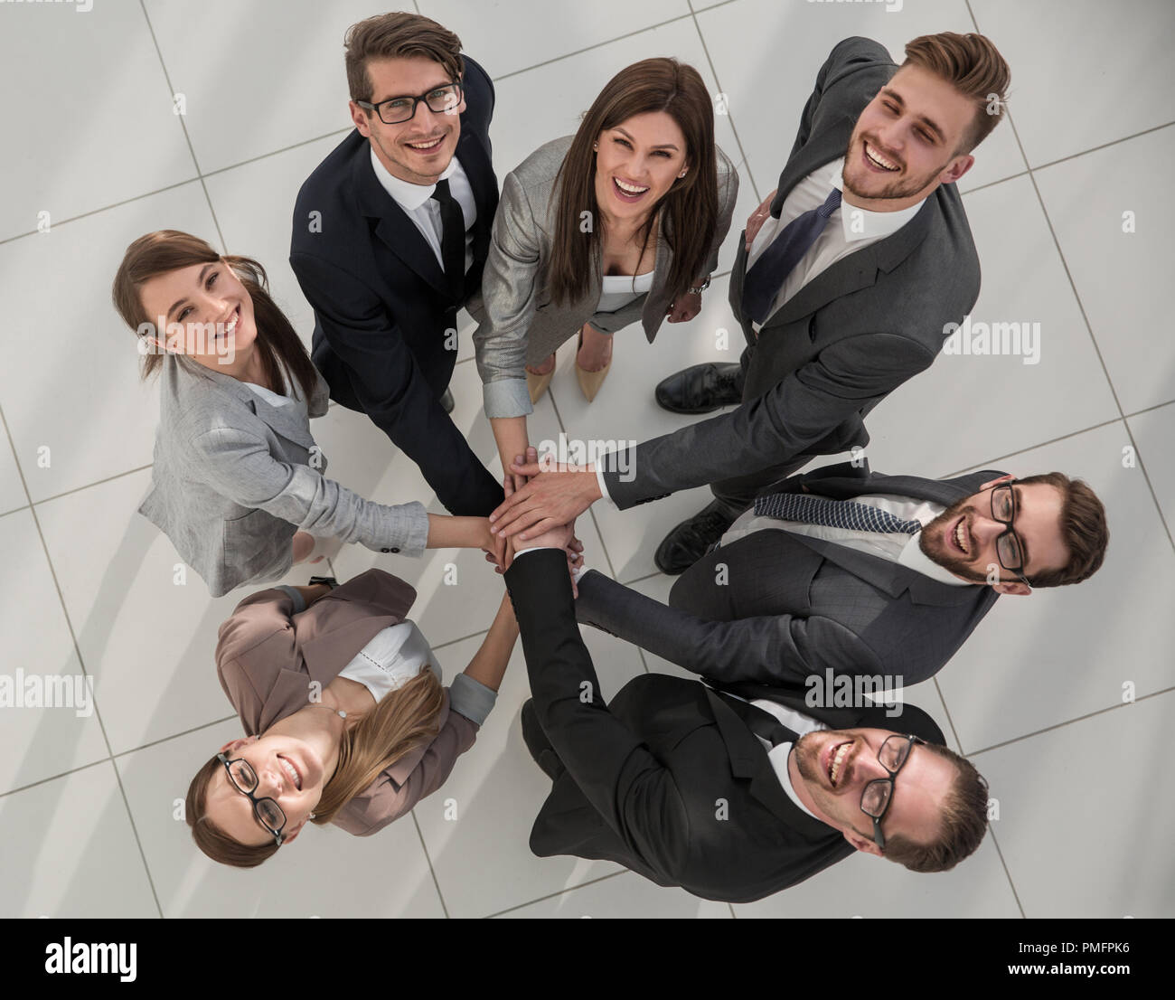top view.smiling group of business people standing together - Stock Image