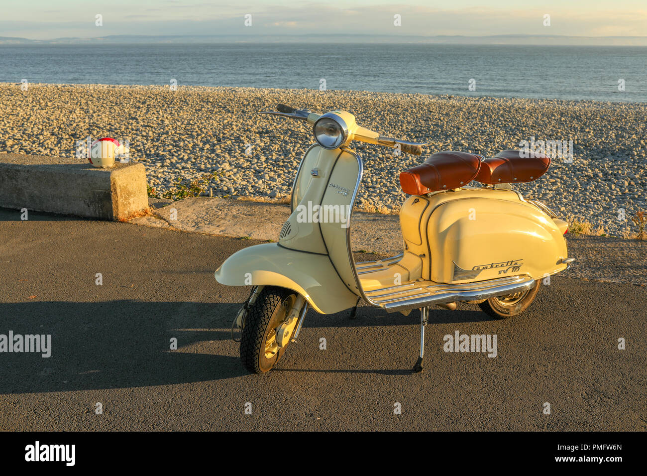 Lambretta Scooter, moped, on the beach front, Th Knap, near Barry Island, Barry, Wales, UK. Stock Photo