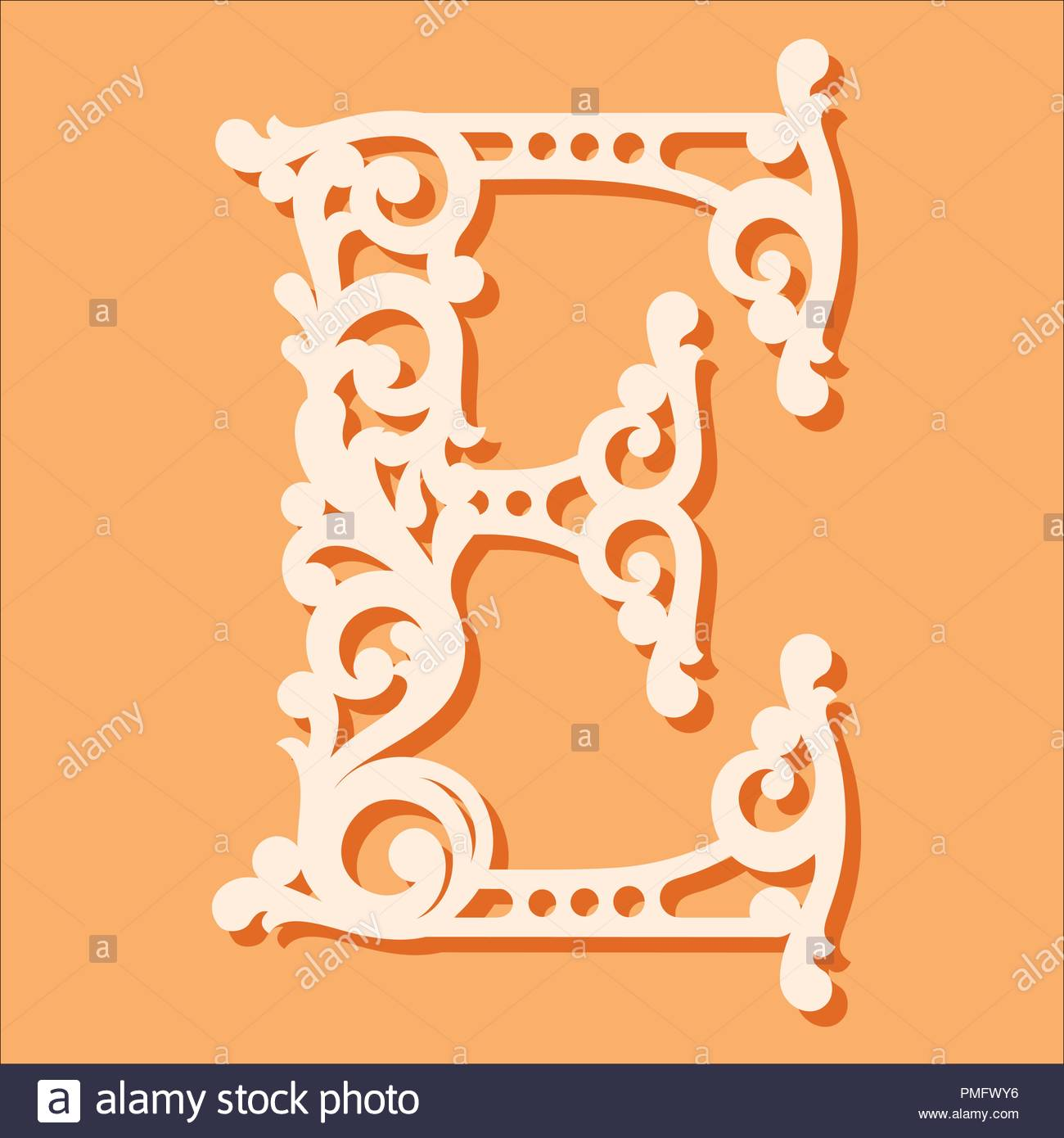 Laser Cut Template Initial Monogram Letters Fancy Floral Alphabet Letter May Be Used For Paper Cutting Wooden Font