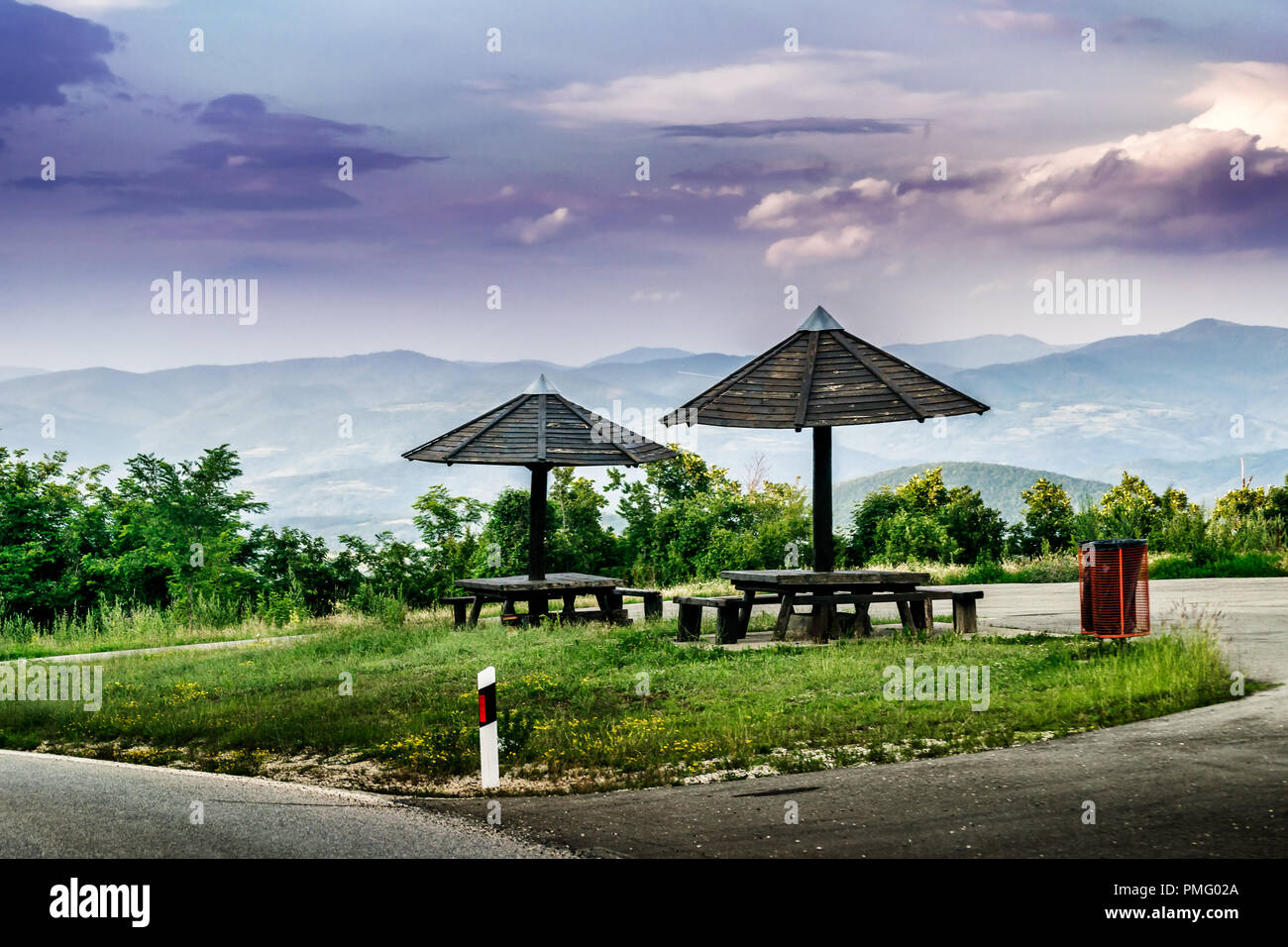 Resting place for drivers and travelers by the Mountain Road with the View - Stock Image