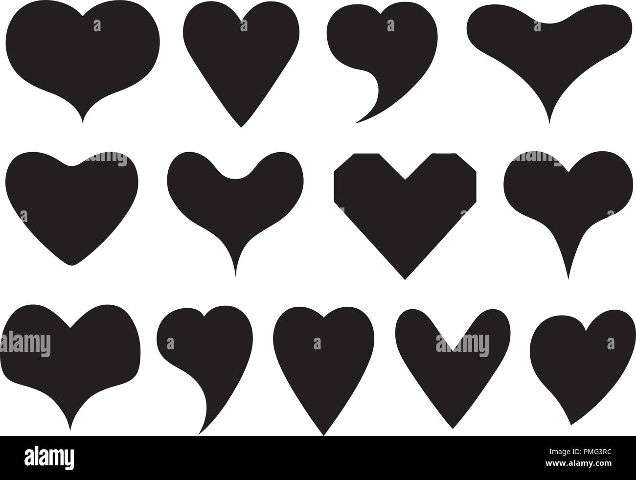 Collage Different Heart Symbol Valentines Stock Vector Images Alamy