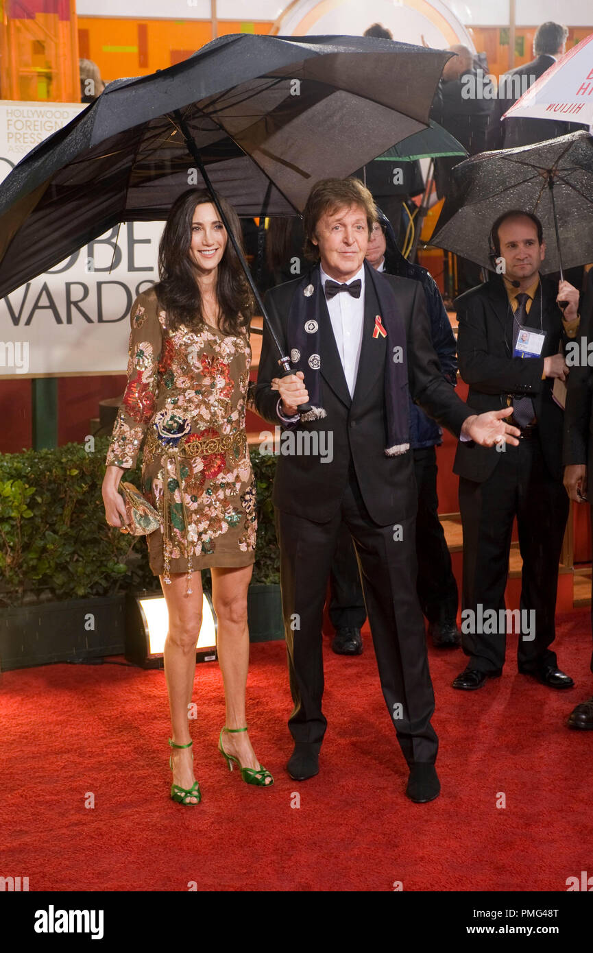 Musician Paul McCartney and Nancy Shevell attend the 67th Annual Golden Globes Awards at the Beverly Hilton in Beverly Hills, CA Sunday, January 17, 2010.  Fashion Information: Stella McCartney; date wearing Stella McCartney, too Stock Photo