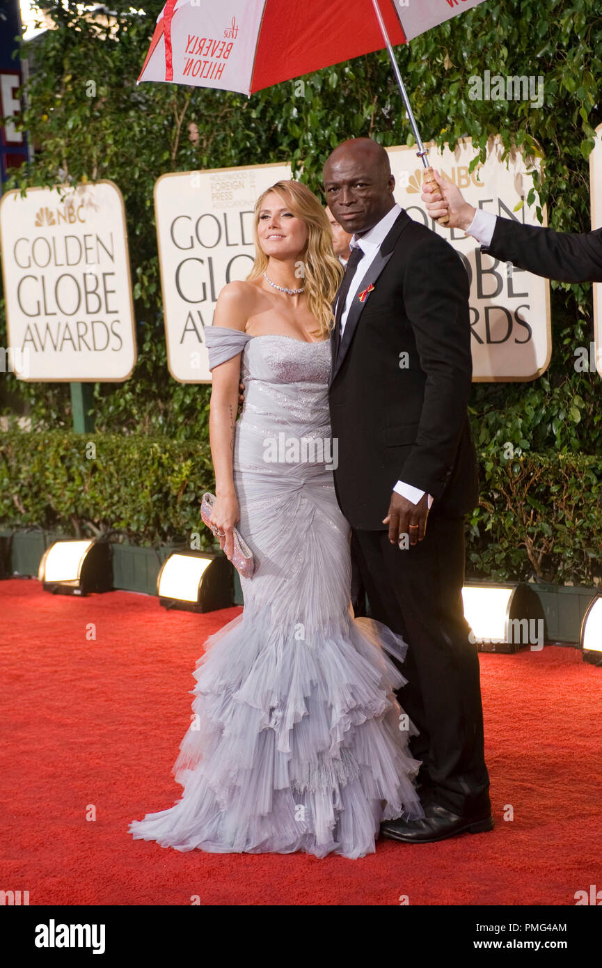Model/TV personality Heidi Klum and singer Seal arrive at the 67th Annual Golden Globe Awards at the Beverly Hilton in Beverly Hills, CA Sunday, January 17, 2010. - Stock Image