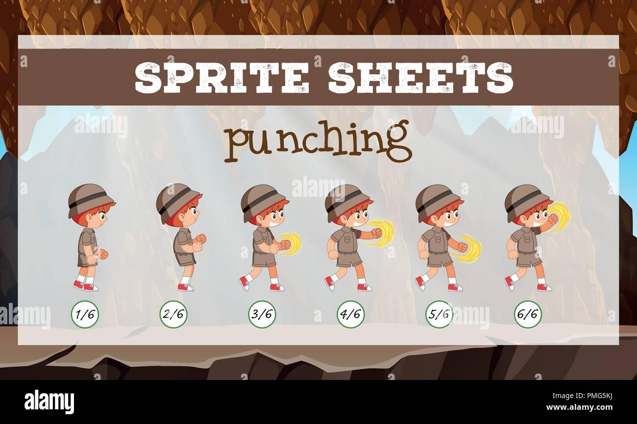 Sprite sheet boy punching illustration - Stock Vector