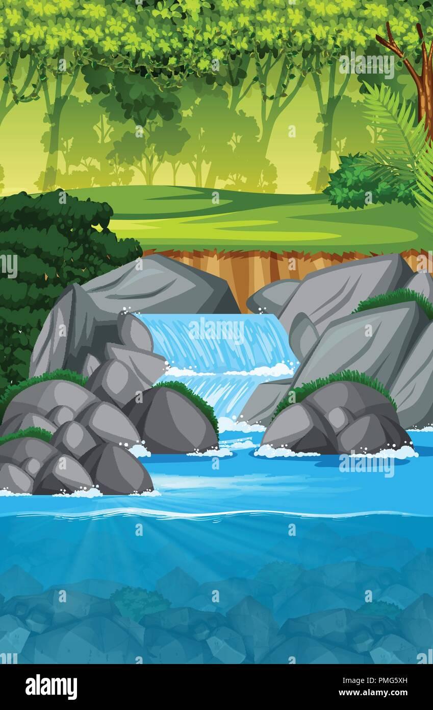 beautiful waterfall landscape scene illustration - Stock Vector