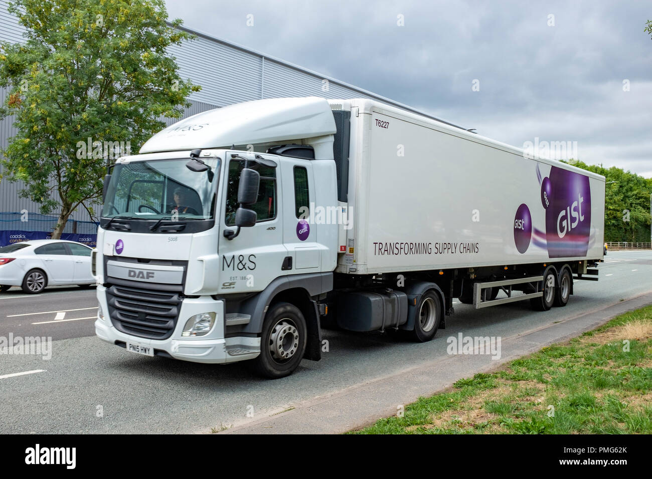 Gist hgv truck supply logistics working for M&S in Crewe Cheshire UK - Stock Image