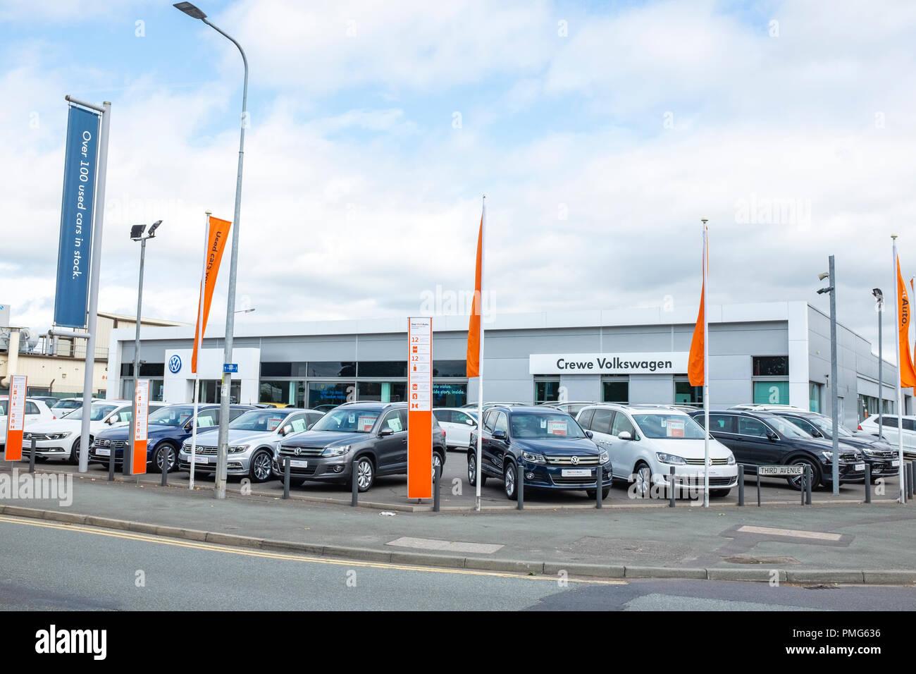 Crewe volkswagon dealer Cheshire UK - Stock Image