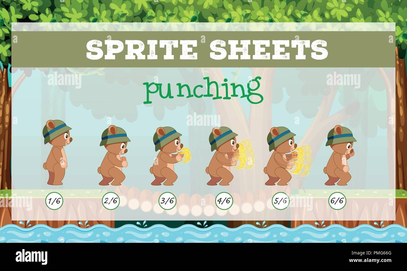 Sprite sheet punching template illustration - Stock Vector