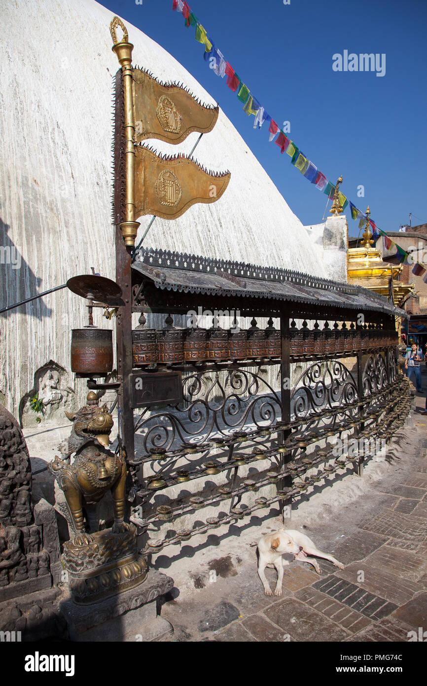 Swayambhunath stupa, Kathmandu's Monkey Temple, Nepal. - Stock Image