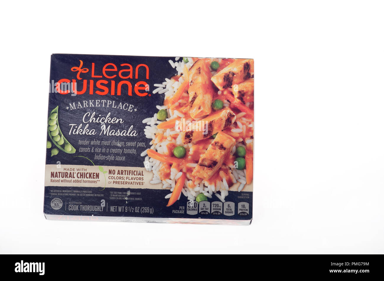 Frozen Lean Cuisine Marketplace Chicken Tikka Masala box on white background - Stock Image