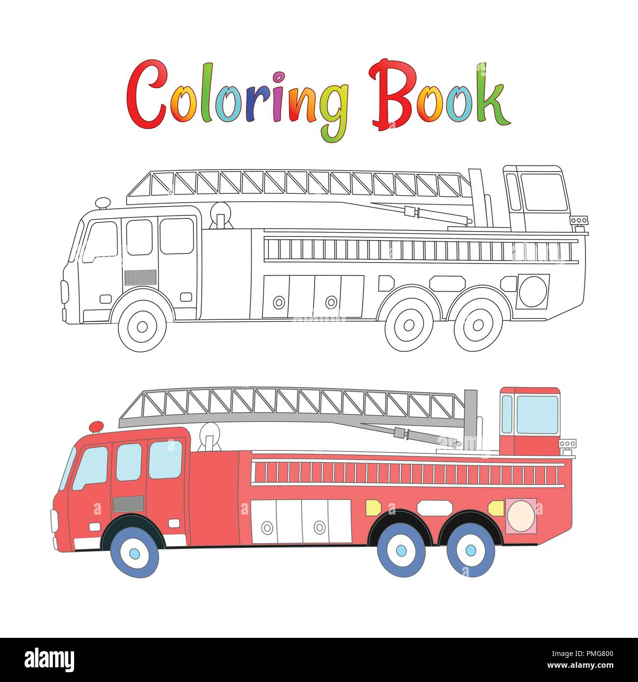 Fire truck coloring book vector. Coloring pages for kids ...