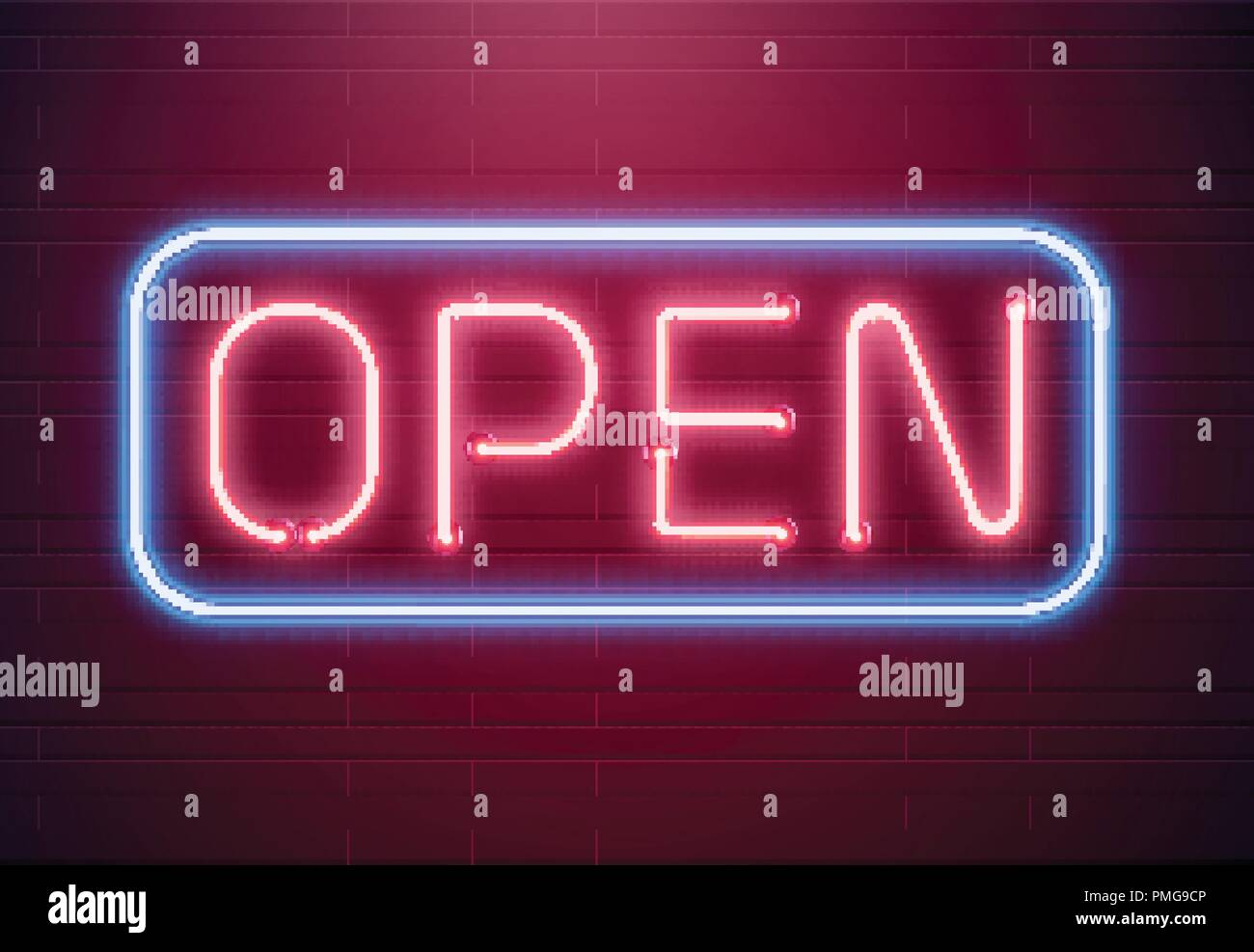 Bar open light Neon Sign  Night store red glowing letters