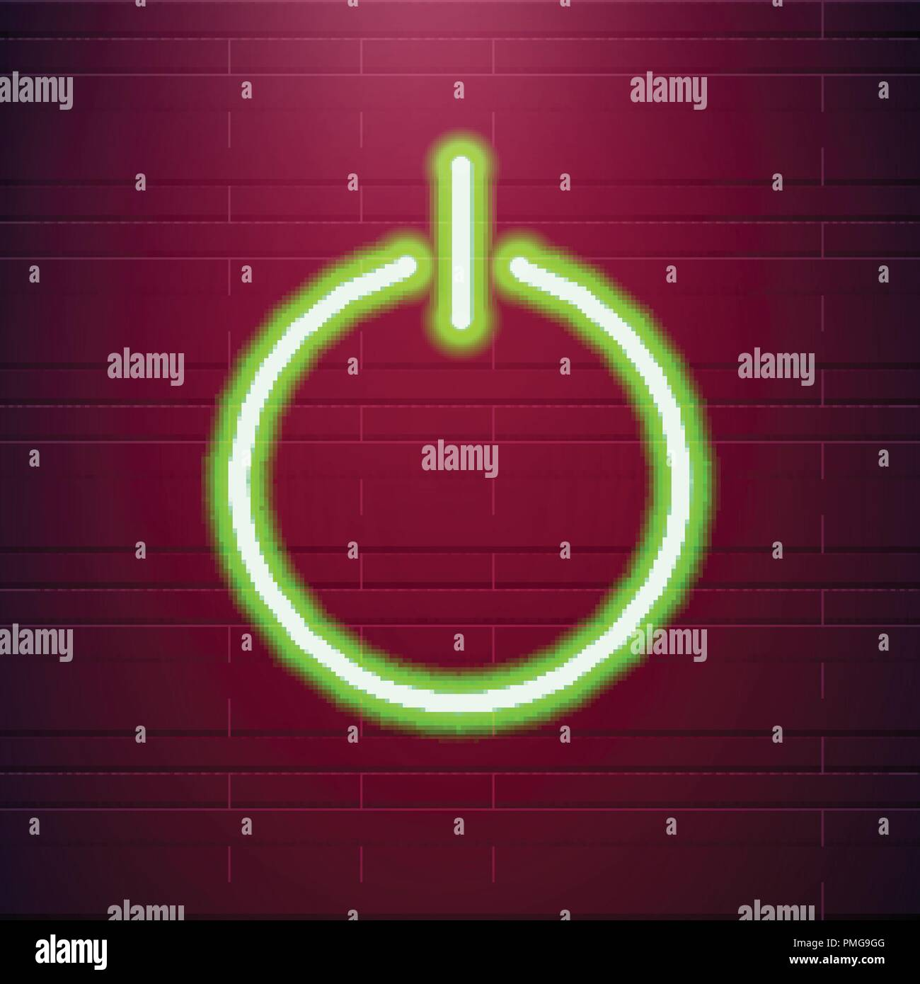 On and Off lamp Neon light Toggle switch button. Vector illustration. Fluorescent light vector illustration - Stock Image