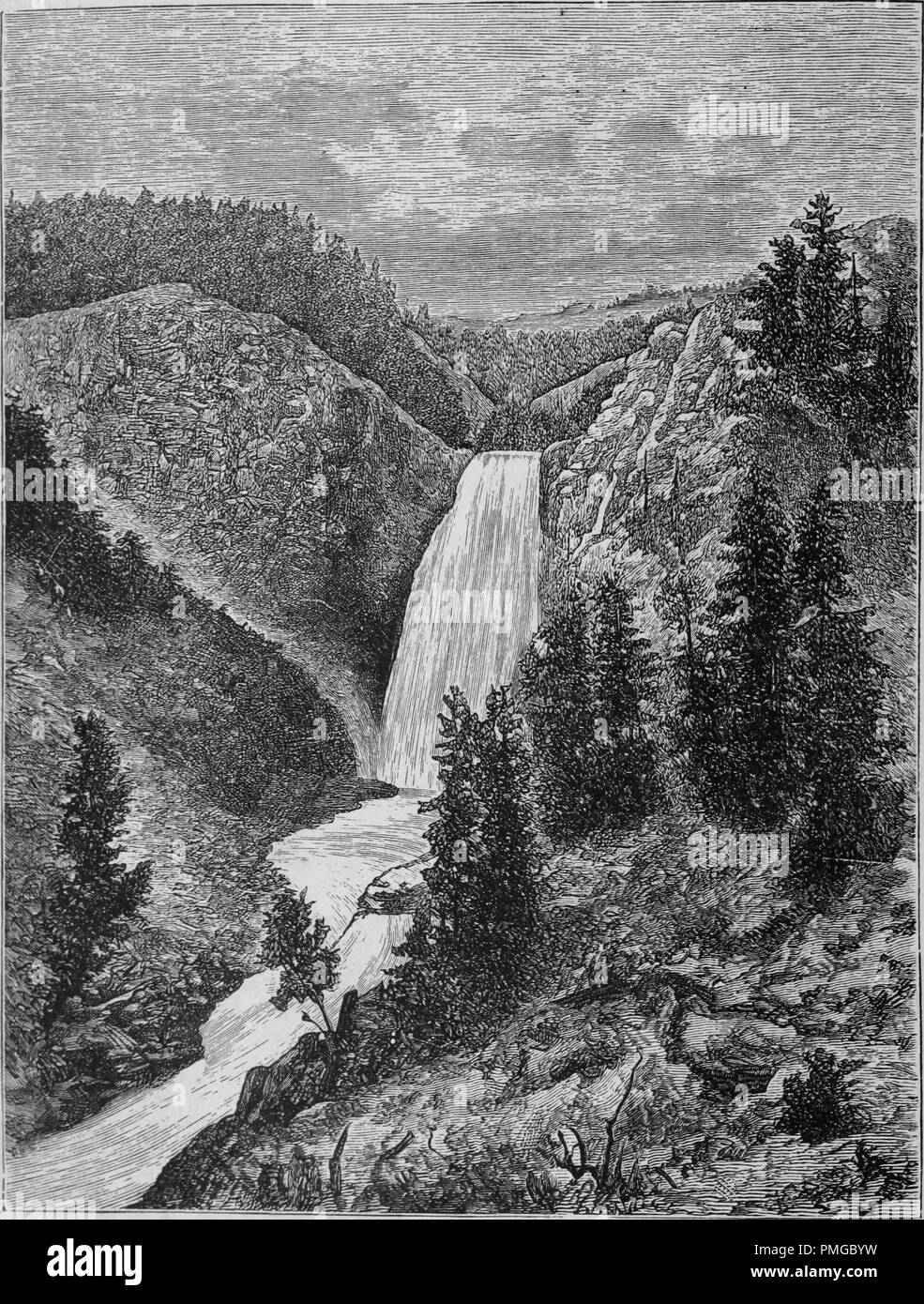 Engraving of the Yellowstone Lower Falls in Wyoming, from the book 'The Pacific tourist', 1877. Courtesy Internet Archive. () - Stock Image