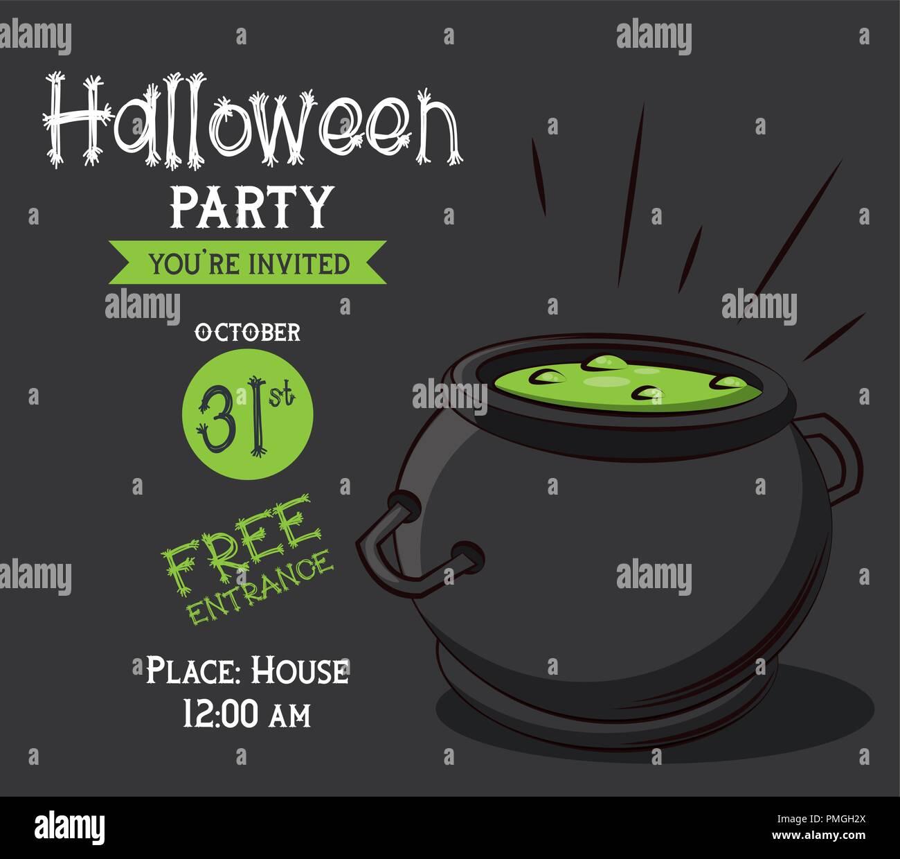 Halloween Party Invitation Card Stock Vector Art