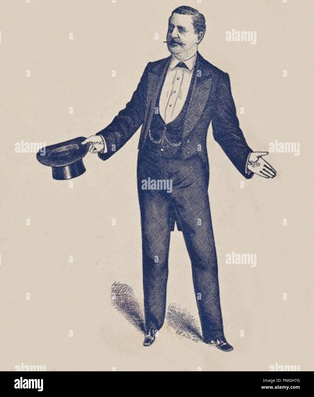 vintage illustration of a gentleman with a top hat gesturing - Stock Image