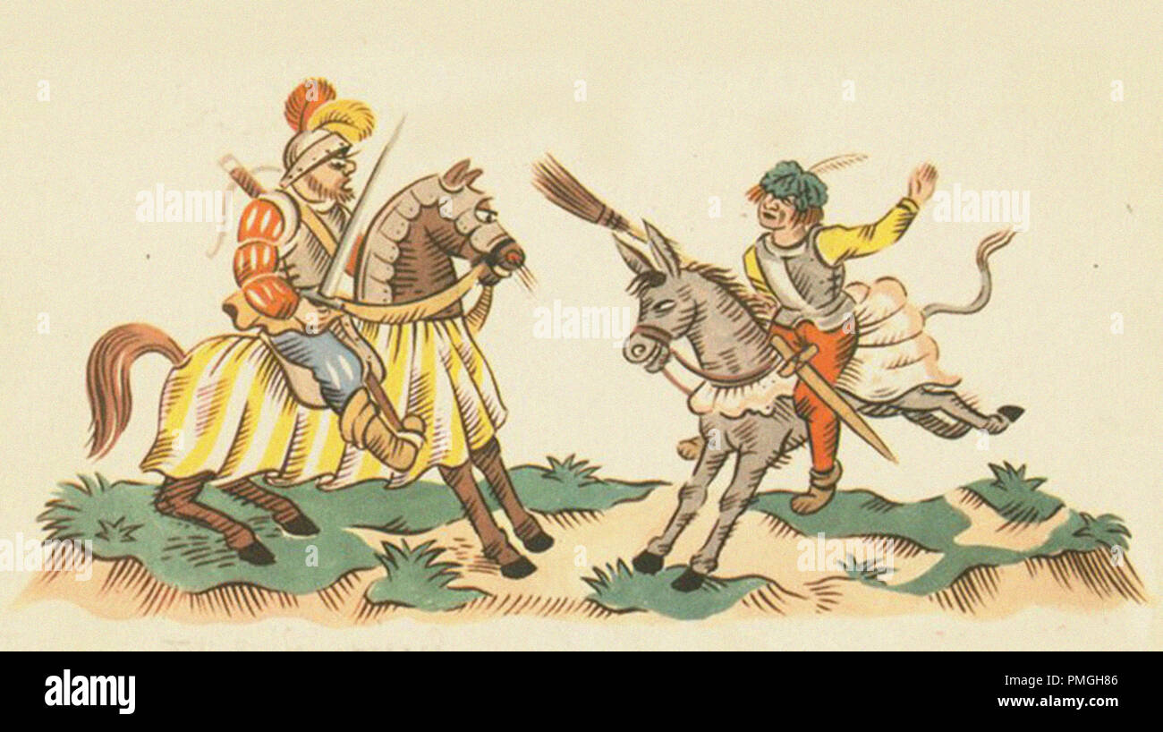 a knight and his squire riding a donkey - Stock Image
