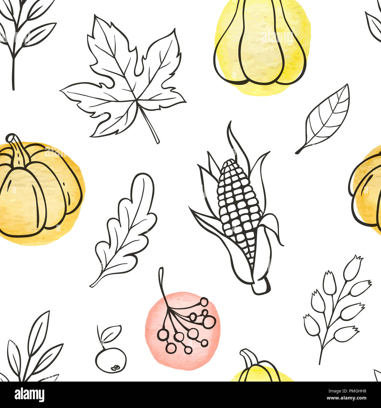 Autumn doodle seamless pattern with pumpkins and leaves on a white ...