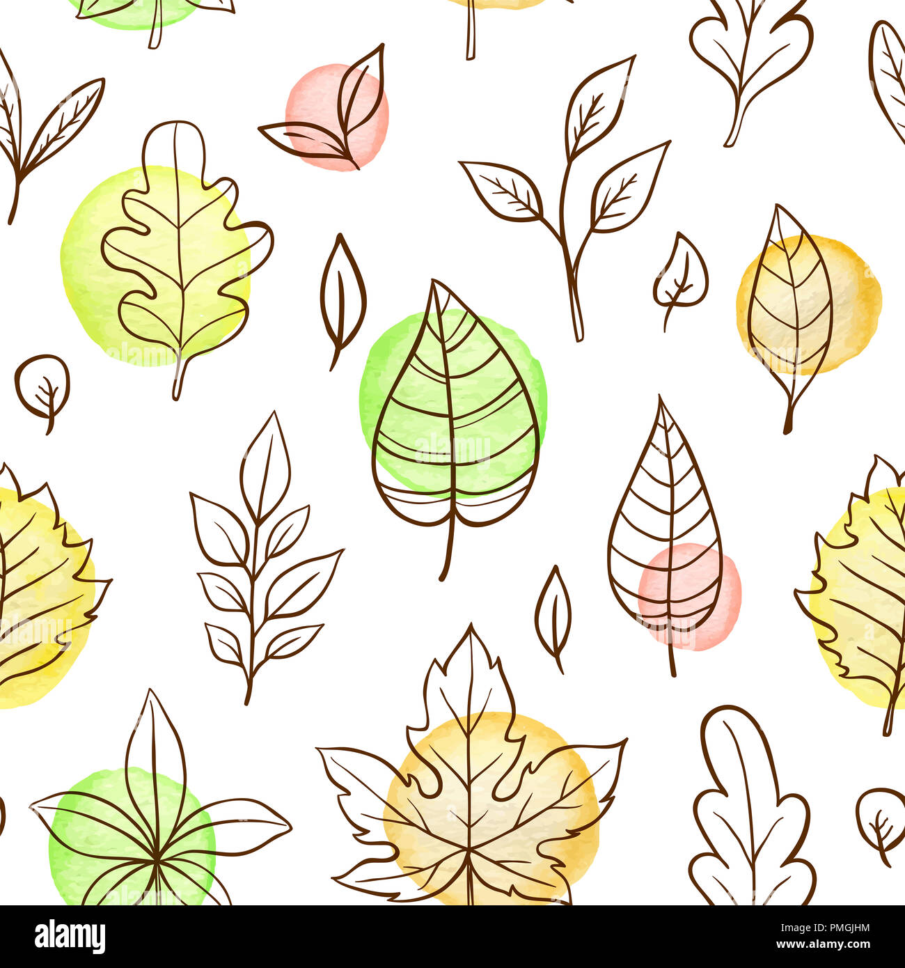 Autumn doodle seamless pattern with falling leaves on a white ...