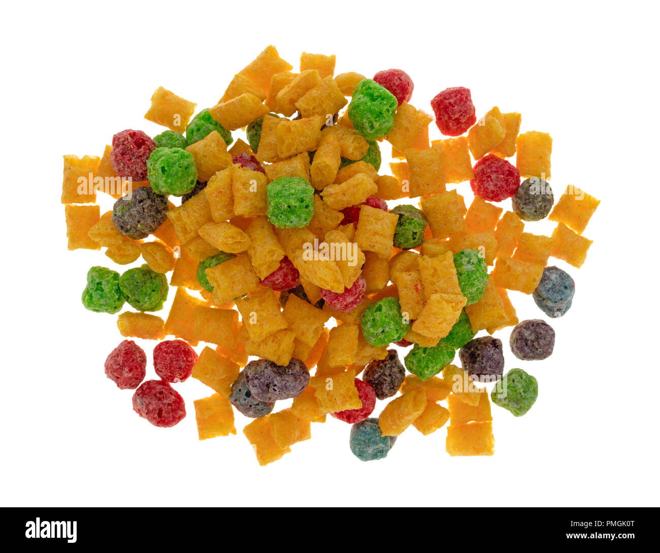 top view of a portion of generic fruit flavored breakfast cereal