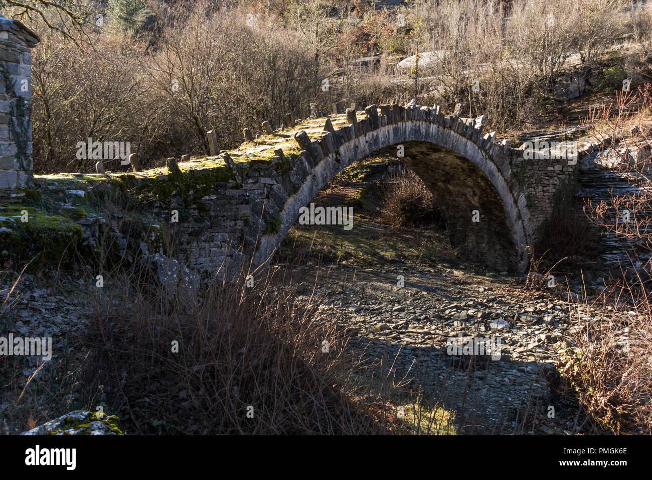 Amazing landscape of Captains Arkoudas Bridge, Pindus Mountains, Zagori, Epirus, Greece - Stock Image
