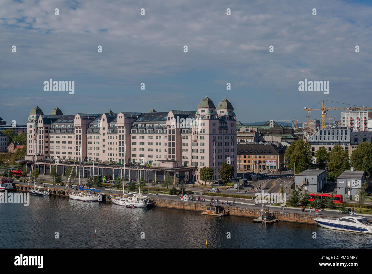 View of the cityscape from Oslo Opera House, Oslo, Norway - Stock Image
