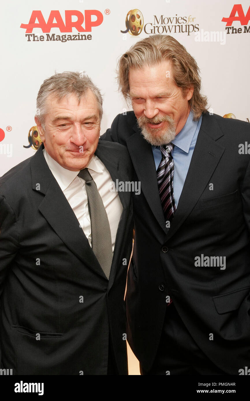 Robert De Niro and Jeff Bridges at the 9th Annual Movies for Grownups Awards. Arrivals held at the Beverly Wilshire Hotel in Beverly Hills, CA February 16, 2010. Photo by PictureLux File Reference # 30131_061PLX   For Editorial Use Only -  All Rights Reserved - Stock Image