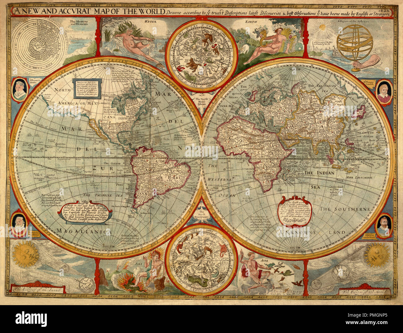 A New And Accvrat Map Of The World 1626.Celestial Map 1626 Stock Photo 219185853 Alamy