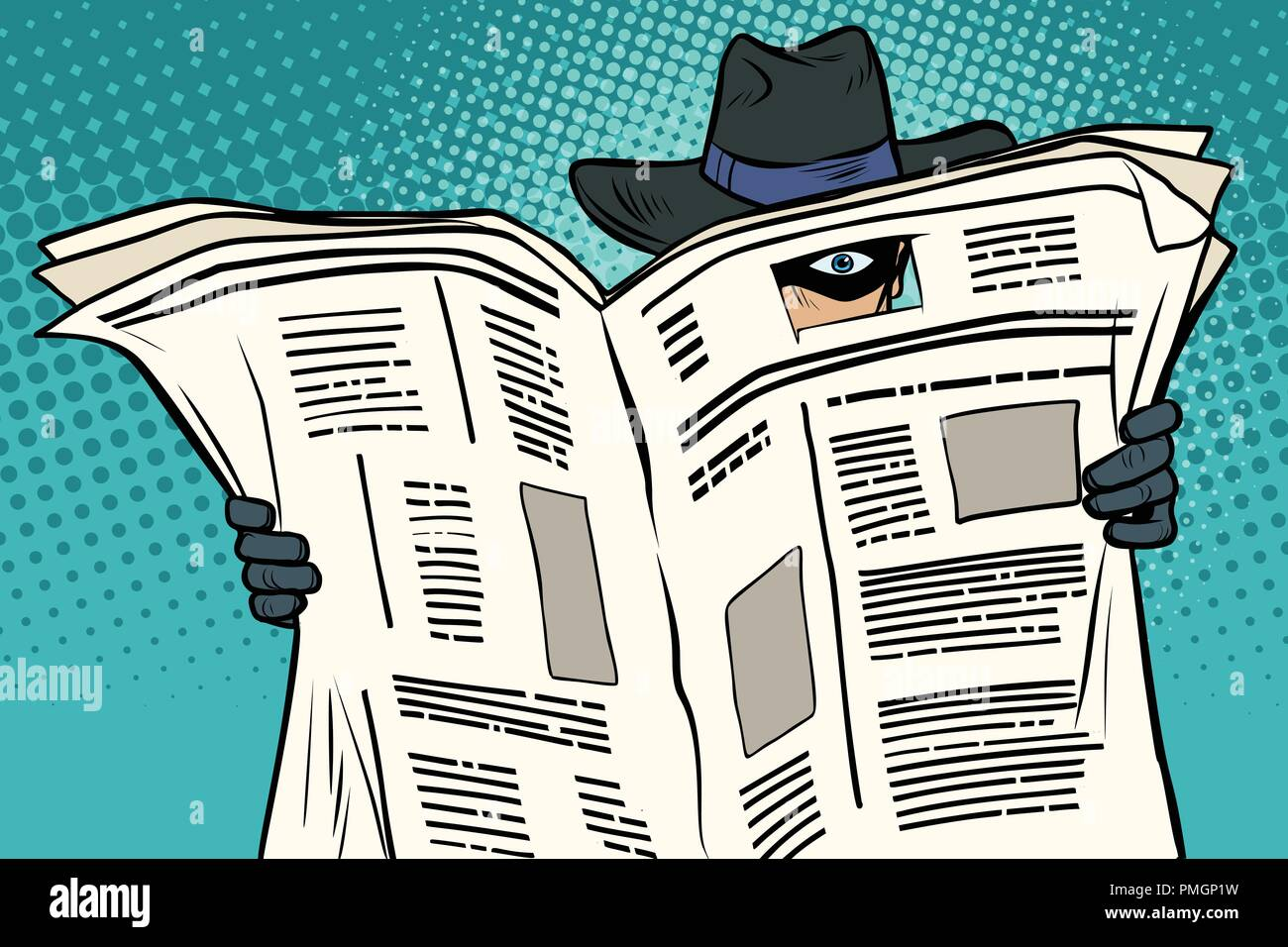 spy watches through the newspaper - Stock Vector