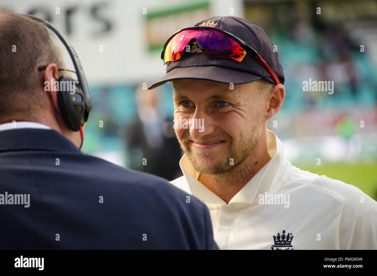 Kia Oval, London, UK. 11th Sept 2018. Specsavers England v India Test Match Cricket, 5th test, day 5; Joe Root - being interviewed by Jonathan Agnew Stock Photo