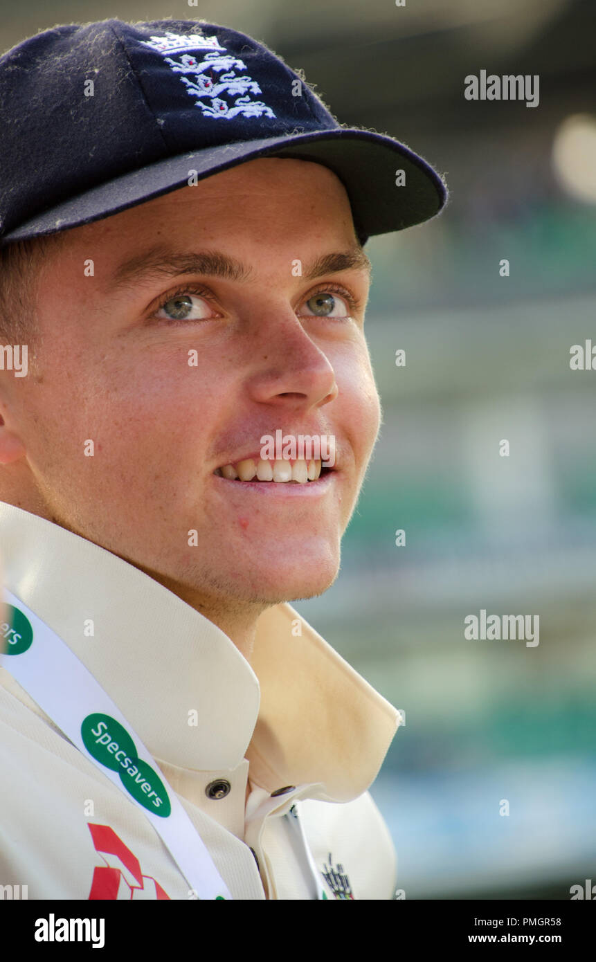 Kia Oval, London, UK. 11th Sept 2018. Specsavers England v India Test Match Cricket, 5th test, day 5; Sam Curran - England's Man of The Series Stock Photo