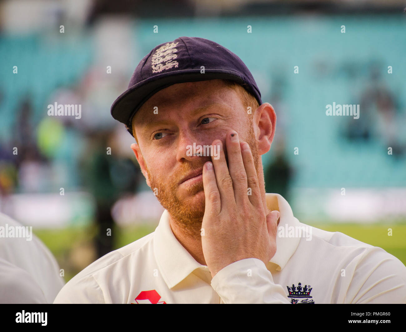 Kia Oval, London, UK. 11th Sept 2018. Specsavers England v India Test Match Cricket, 5th test, day 5; Jonny Bairstow - England's wicket keeper after. - Stock Image