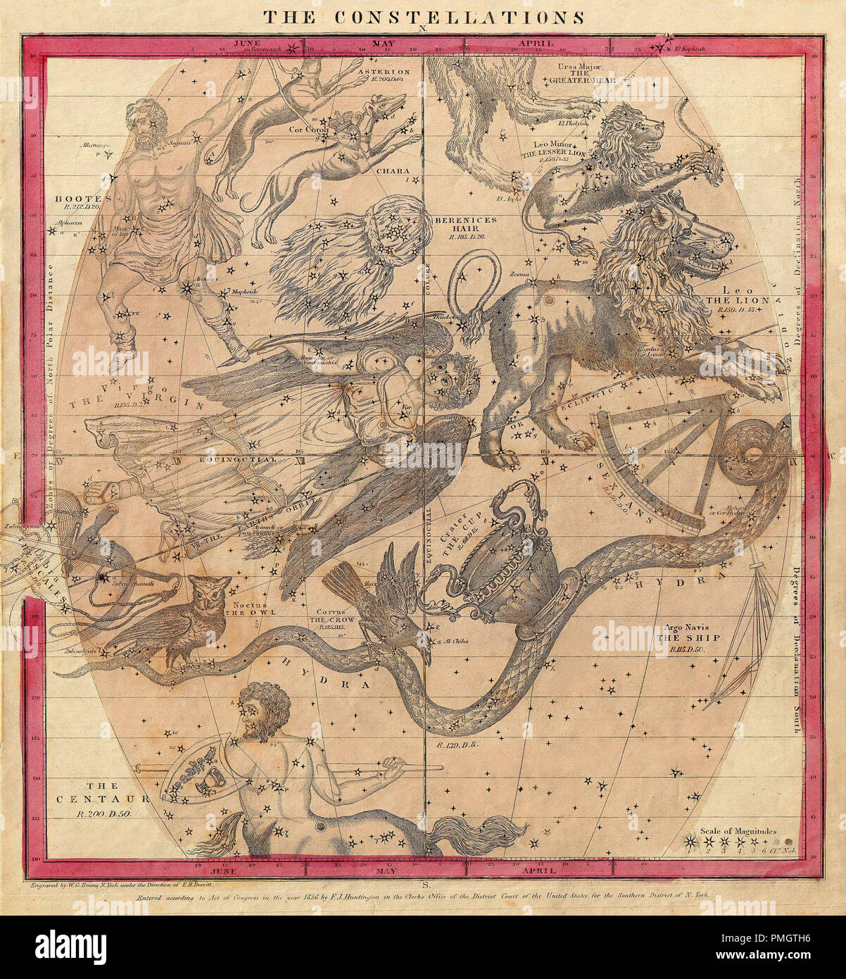 Vintage constellation chart by Burritt circa 1856.