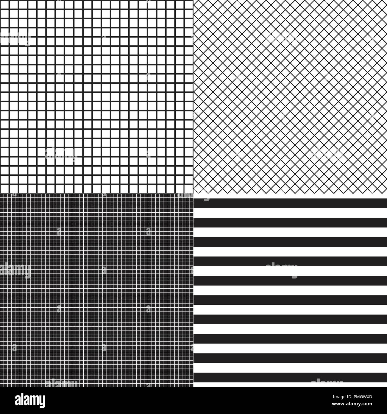3cde98263 Set of striped and grid cells seamless patterns. Black and white colors  Vector fashion background